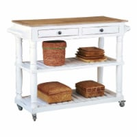 Sunset Trading Cottage Wood Kitchen Island Sideboard/Cart with Casters in White - 1