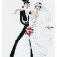 7.75 x 10.25 in. Wedding Tango Counted Cross Stitch Kit - 14 Count - 14