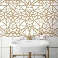 Shatter Geometric Peel & Stick Wallpaper, White & Gold - 1