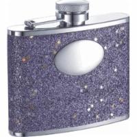 Visol VF1105 Comet Purple Glitter Stainless Steel 4oz Hip Flask - 1