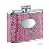 Visol VF1181 Anaconda Hot Pink Synthetic Leather Stainless Steel 4oz Hip Flask - 1