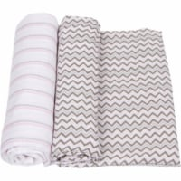 MiracleWare 3240 Pink & Gray Muslin Swaddle, 2 Pack