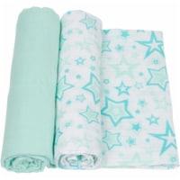 Miracle Baby MiracleWare Stars Muslin Swaddle Blankets - Aqua