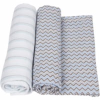 Miracle Blanket 20346 Blue With Gray Stripes Baby Swaddle Blanket
