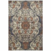 Oriental Weavers Pasha 8022K 6x9  Rectangle Rug - Blue/ Rust-Polypropylene