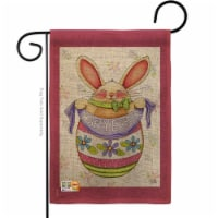 13 x 18.5 in. Egg Bunny Burlap Spring Easter Impressions Decorative Vertical Double Sided Gar - 1