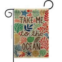 13 x 18.5 in. Take Me To the Ocean Burlap Coastal Nautical Impressions Decorative Vertical Do - 1