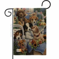 13 x 18.5 in. Country Pups Burlap Nature Pets Impressions Decorative Vertical Double Sided Ga