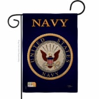 13 x 18.5 in. Navy Burlap Americana Military Impressions Decorative Vertical Double Sided Gar - 1