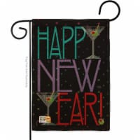 13 x 18.5 in. New Year Martini Burlap Winter Impressions Decorative Vertical Double Sided Gar - 1