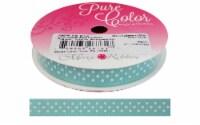 "Morex Ribbon Grosgrain Swiss Dot 3/8""x 5yd Aqua/W"