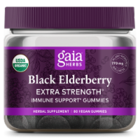 Gaia Herbs Black Elderberry Extra Strength Immune Support Vegan Gummies