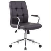 Boss Office Chair in Black with Chrome Arms - 1