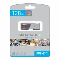 PNY Elite Turbo Attache 3 USB 3.0 Flash Drive - Gray - 128GB