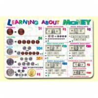 Painless Learning MON-1 Learning About Money Placemat - Pack of 4 - 1