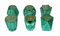 Metallic Teal Green Mercury Glass Votive Candle Holders Set of 6 Assorted Shapes - Teal - One Size