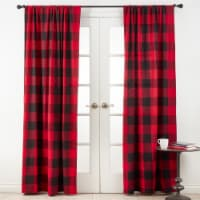 54 x 108 in. Cotton Buffalo Plaid Curtains - Red - 1