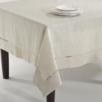65 x 180 in. Dori Rectangle Toscana Linen Blend Tablecloth - Natural - 1