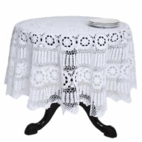 72 in. Galucia Round Handmade Crochet Cotton Lace Table Linens - White - 1