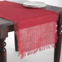 20 x 70 in. Mari Sati Rectangular Fringed Jute Table Runner - Red - 1