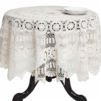 90 in. Round Handmade Crochet Cotton Lace Table Linens - Ecru - 1