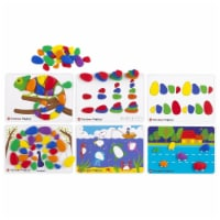 Rainbow Sorting & Stacking Pebbles Activity Set with 12 Double-Sided Activity Cards - 48 Piec
