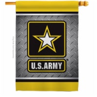 Breeze Decor H108420-BO US Army Steel House Flag Armed Forces 28 x 40 in. Double-Sided Decora - 1