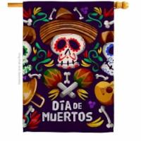 Breeze Decor H112090-BO Dia De Muertos Skulls House Flag Fall Day of Dead 28 x 40 in. Double-