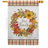 Breeze Decor H113100-BO Give Thanks Wreath House Flag Fall Harvest & Autumn 28 x 40 in. Doubl - 1