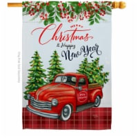 Breeze Decor H114230-BO Christmas Happy New Year House Flag Winter 28 x 40 in. Double-Sided D