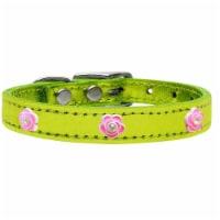Bright Pink Rose Widget Genuine Metallic Leather Dog Collar, Lime Green - Size 20 - 1