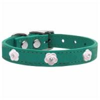 Light Pink Rose Widget Genuine Leather Dog Collar, Jade - Size 24 - 1