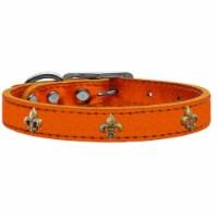 Bronze Fleur De Lis Widget Genuine Metallic Leather Dog Collar - Orange, Size 26 - 1