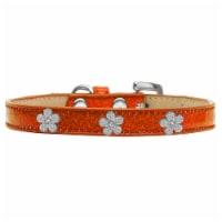 Silver Flower Widget Dog Collar, Orange Ice Cream - Size 18 - 1