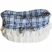 Blue Plaid Reversible Snuggle Bugs Pet Bed, Bag, & Car Seat - 1