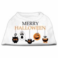 Merry Halloween Screen Print Dog Shirt, White - Large 14