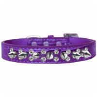 Double Crystal & Spike Croc Dog Collar, Purple - Size 20