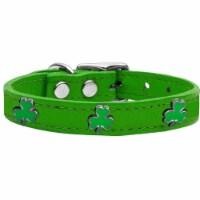 Shamrock Widget Genuine Leather Dog Collar, Emerald Green - Size 22 - 1