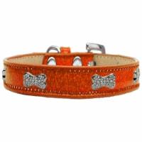 Crystal Bone Dog Collar, Orange Ice Cream - Size 12
