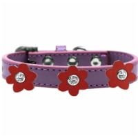 Premium Collar, Lavender with Red Flowers - Size 20 - 1