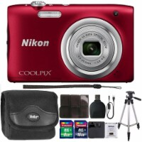 Nikon Coolpix A100 20.1mp Compact Digital Camera Red With 24gb Accessory Kit - 1