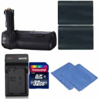 Battery Grip For Canon Eos 70d And 80d + 2 Lp-e6 Batteries + Charger + 32gb Kit - 1