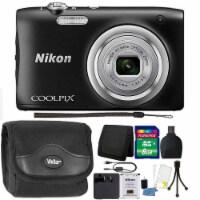 Nikon Coolpix A100 20.1mp Compact Digital Camera 5x Optical Zoom Black With Accessory Bundle - 1
