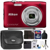 Nikon Coolpix A100 20.1mp Compact Digital Camera Red With Ultimate Accessory Kit - 1