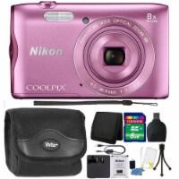 Nikon Coolpix A300 20.1mp Digital Camera Pink With Accessory Bundle