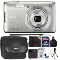 Nikon Coolpix A300 Digital Camera Silver With Accessory Bundle - 1
