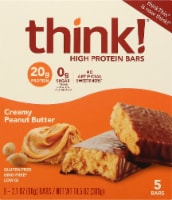 think! Creamy Peanut Butter High Protein Bars 5 Count
