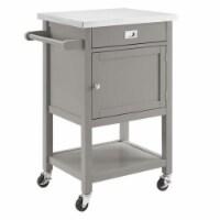 Linon Sydney Wood Steel Top Kitchen Cart in Gray - 1