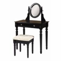 Saltoro Sherpi Wooden Vanity Set with Adjustable Mirror and Drawer, Black and Beige - 1 unit