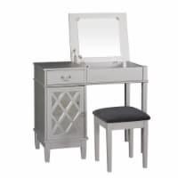 Linon Lattice Vanity Set in Silver Gray - 1